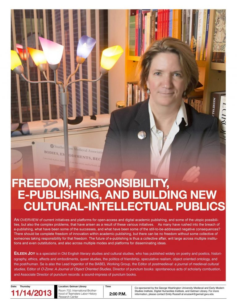 Eileen Joy (punctum books): Freedom, Responsibility, E-Publishing, and Building New Cultural-Intellectual Publics