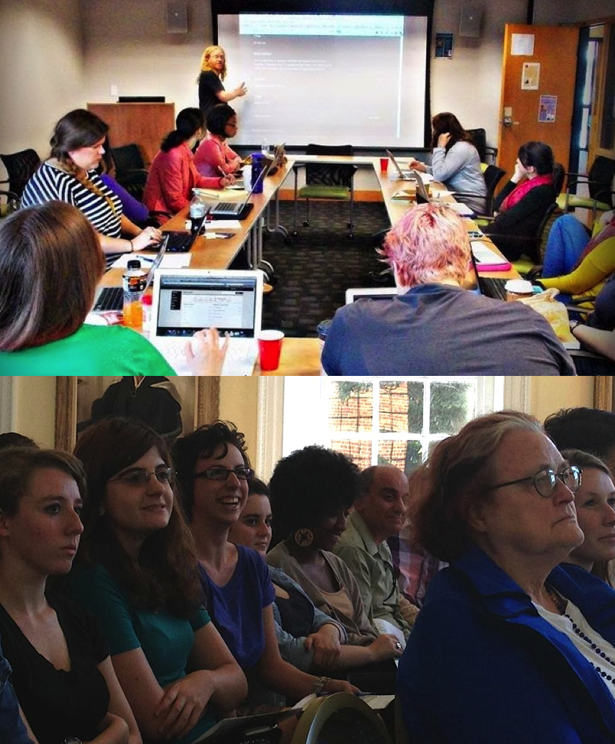 Above: Graduate students with Patrick Murray-John (George Mason University) workshop on using Omeka for digital curation. Below: Undergrads, faculty, and librarians attending a DH lecture. [Photos: M Bychowski, Alexa Huang]