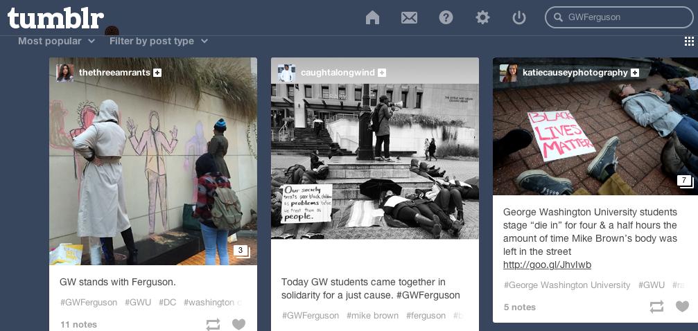 [Screenshot: #GWFerguson on tumblr, December 4, 2014]