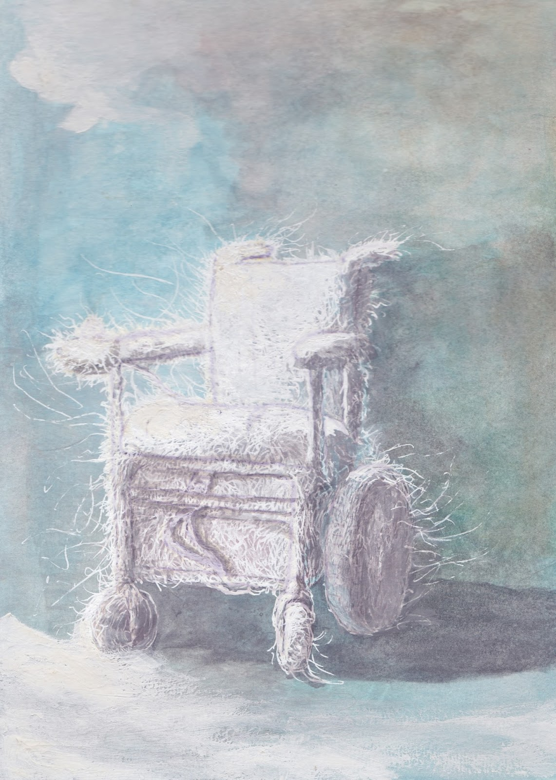 Sunaura Taylor, Arctic Wheelchair, 2013. Watercolor and Ink on Paper, 7